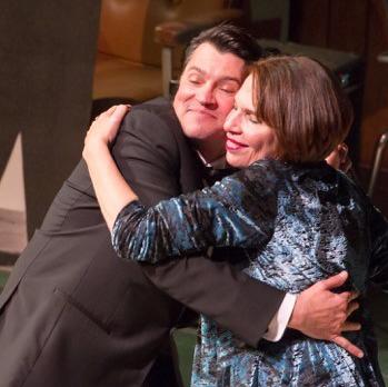 John King gets a hug from Hildy Grossman